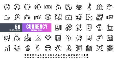 Vector of 50 Currency FInancial Line Outline Icon Set. 48x48 Pixel Perfect Editable Stroke.