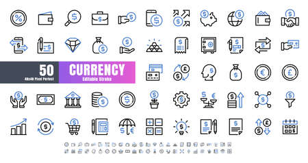 Vector of 50 Currency FInancial Bicolor Line Outline Icon Set. 48x48 Pixel Perfect Editable Stroke. 矢量图像