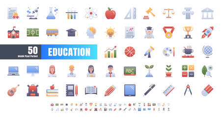 Vector of 50 Education and School Subject. Flat Gradient Color Icon Set. 64x64 and 256x256 Pixel. Иллюстрация
