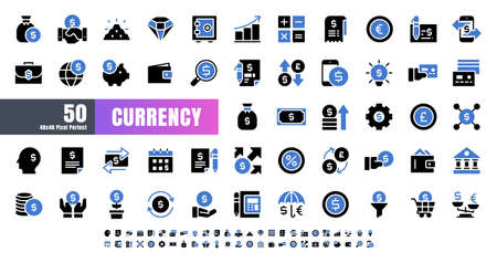 Vector of 50 Currency FInancial Balck and Blue Solid Glyph Icon Set. 48x48 Pixel Perfect. Иллюстрация