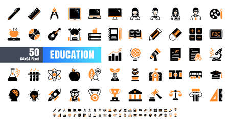 Vector of 50 Education and School Subject. Bicolor Solid Glyph Icon Set. 64x64 and 256x256 Pixel.