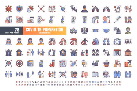 Vector of 78 Covid-19 PreventionGradient Filled Outline Icons. Coronavirus, Social Distancing, Quarantine, Stay Home. 64x64 Pixel Perfect. Editable Stroke.