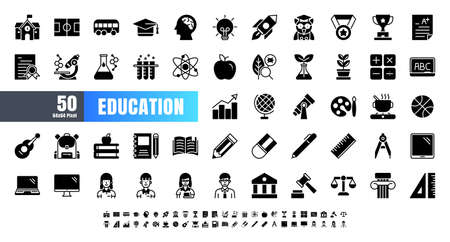 Vector of 50 Education and School Subject solid Glyph Icon Set. 64x64 and 256x256 Pixel Perfect. Иллюстрация