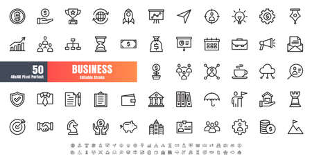 Vector of 50 Business and Financial Line Outline Icon Set. 48x48 Pixel Perfect Editable Stroke.
