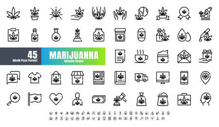48x48 Pixel Perfect Marijuana or Cannabis Line Outline Icons. Such Icons as Medical, Leaf, Oil, Extract, Sell, Shop, Free, Medicine. Editable Stroke Vector. Иллюстрация