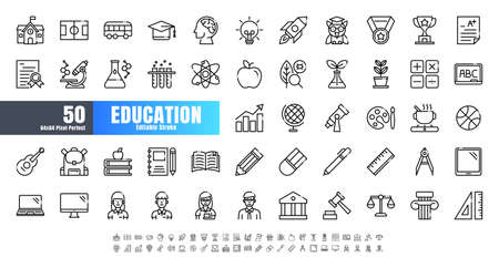 Vector of 50 Education and School Subject Line Outline Icon Set. 64x64 and 256x256 Pixel Perfect Editable Stroke. Иллюстрация