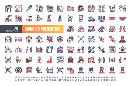 Vector of 78 Covid-19 Prevention Monochrome Flat Blue Filled Line Outline Icons. Coronavirus, Social Distancing, Quarantine, Stay Home. 64x64 Pixel Perfect. Expanded Stroke. Иллюстрация