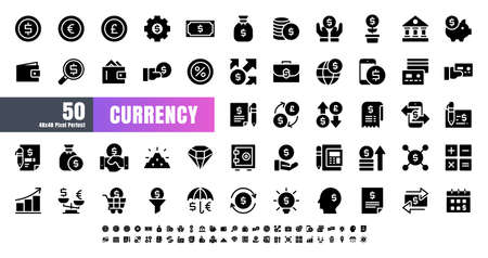 Vector of 50 Currency FInancial Balck Solid Glyph Icon Set. 48x48 Pixel Perfect. Иллюстрация