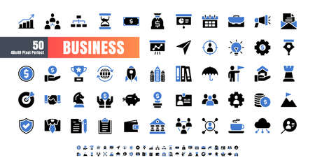Vector of 50 Business and Financial Bicolor Blue and Black solid glyph Icon Set. 48x48 Pixel Perfect. 矢量图像
