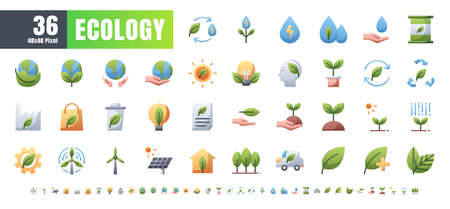 Vector of 36 Ecology and Green Energy Power Gradient Flat Color Icon Set. 48x48 and 192x192 Pixel.