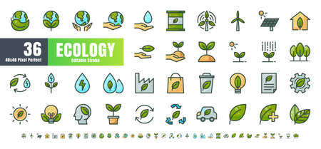 Vector of 36 Ecology and Green Energy Power Filled Color Line Outline Icon Set. 48x48 and 192x192 Pixel Perfect Editable Stroke.