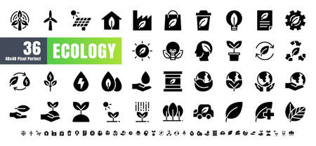 Vector of 36 Ecology and Green Energy Power Solid Glyph Icon Set. 48x48 and 192x192 Pixel Perfect.