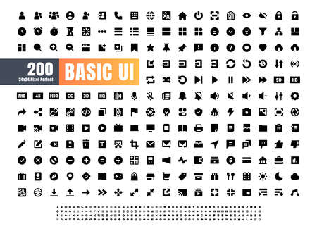 24x24 Pixel Perfect Basic User Interface Essential Set. 200 Solid Glyph Icons. For App, Web, Print.