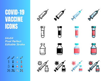 Vaccine for Covid-19, Coronavirus. 4 Styles Icons. Such Icons as Line, Outline, Solid Glyph, Flat, Filled. 64x64 Pixel Perfect. Editable Stroke. Vector. 矢量图像