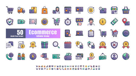 64x64 Pixel Perfect of Ecommerce Online Shopping Delivery. Filled Gradient Color Thin Line Outline Editable Stroke Icons Vector. for Website, Application, Printing, Document, Poster Design, etc.