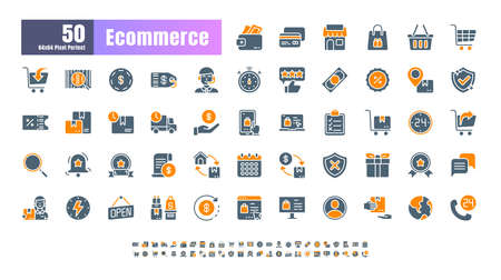 64x64 Pixel Perfect of Ecommerce Online Shopping Delivery. Bicolor Filled Solid Glyph Icons Vector. for Website, Application, Printing, Document, Poster Design, etc.