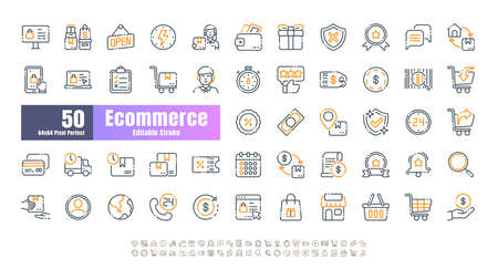 64x64 Pixel Perfect of Ecommerce Online Shopping Delivery. Bicolor Thin Line Outline Editable Stroke Icons Vector. for Website, Application, Printing, Document, Poster Design, etc.