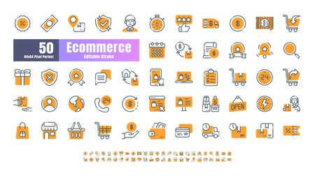64x64 Pixel Perfect of Ecommerce Online Shopping Delivery. Filled Color Thin Line Outline Editable Stroke Icons Vector. for Website, Application, Printing, Document, Poster Design, etc. Çizim
