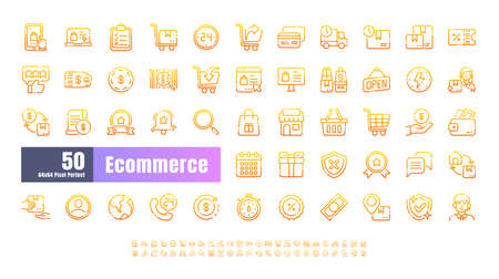 64x64 Pixel Perfect of Ecommerce Online Shopping Delivery. Gradient Thin Line Outline Icons Vector. for Website, Application, Printing, Document, Poster Design, etc.