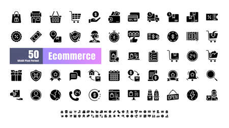 64x64 Pixel Perfect of Ecommerce Online Shopping Delivery. Filled Solid Glyph Icons Vector. for Website, Application, Printing, Document, Poster Design, etc.