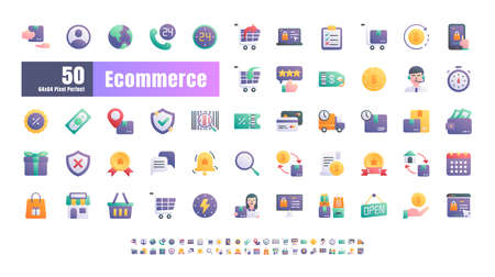 64x64 Pixel Perfect of Ecommerce Online Shopping Delivery. Flat Gradient Color Icons Vector. for Website, Application, Printing, Document, Poster Design, etc. Çizim
