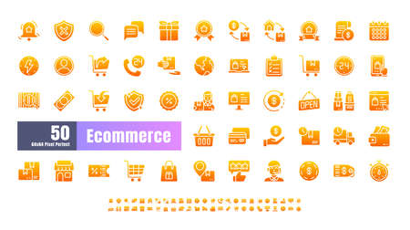 64x64 Pixel Perfect of Ecommerce Online Shopping Delivery. Filled Gradient Solid Glyph Icons Vector. for Website, Application, Printing, Document, Poster Design, etc. Çizim