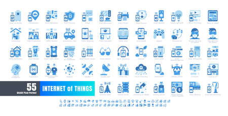 64x64 Pixel Perfect. Internet of Things (IOT). Flat Monochrome Blue Icons Vector. for Website, Application, Printing, Document, Poster Design, etc.
