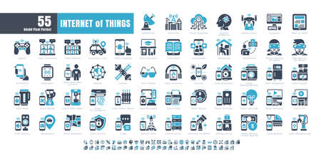 64x64 Pixel Perfect. Internet of Things (IOT). Bicolor solid Glyph Icons Vector. for Website, Application, Printing, Document, Poster Design, etc. Ilustración de vector