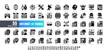 64x64 Pixel Perfect. Internet of Things (IOT). Solid Glyph Icons Vector. for Website, Application, Printing, Document, Poster Design, etc.