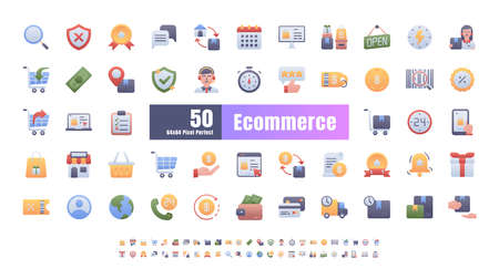 64x64 Pixel Perfect of Ecommerce Online Shopping Delivery. Filled Flat Color Thin Line Outline Editable Stroke Icons Vector. for Website, Application, Printing, Document, Poster Design, etc.