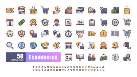 64x64 Pixel Perfect of Ecommerce Online Shopping Delivery. Filled Flat Gradient Color Thin Line Outline Icons Vector. for Website, Application, Printing, Document, Poster Design, etc.