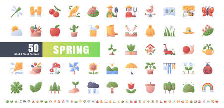 64x64 Pixel Perfect. Spring Season. Flat Gradient Color Icons Vector. for Website, Application, Printing, Document, Poster Design, etc. Иллюстрация