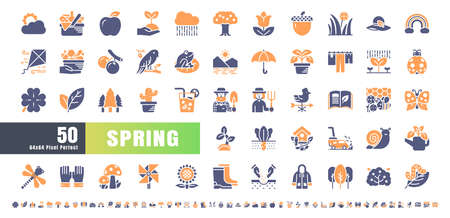 64x64 Pixel Perfect. Spring Season. Bicolor Solid Glyph Icons Vector. for Website, Application, Printing, Document, Poster Design, etc.
