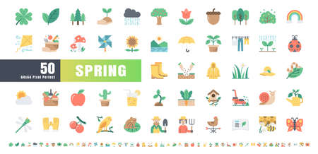 64x64 Pixel Perfect. Spring Season. Flat Color Icons Vector. for Website, Application, Printing, Document, Poster Design, etc. Иллюстрация