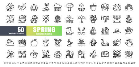 64x64 Pixel Perfect. Spring Season. Line Outline Icons Vector. for Website, Application, Printing, Document, Poster Design, etc. Editable Stroke