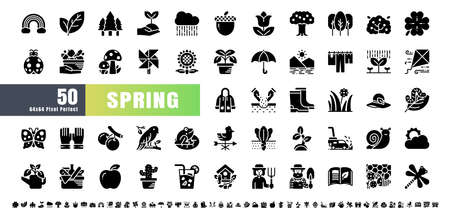 64x64 Pixel Perfect. Spring Season. Solid Glyph Icons Vector. for Website, Application, Printing, Document, Poster Design, etc.