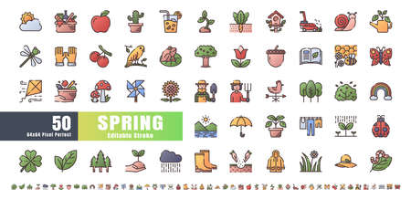 64x64 Pixel Perfect. Spring Season. Flat Gradient Color Filled Outline Icons Vector. for Website, Application, Printing, Document, Poster Design, etc. Editable Stroke Иллюстрация
