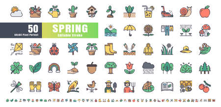 64x64 Pixel Perfect. Spring Season. Flat Color Filled Outline Icons Vector. for Website, Application, Printing, Document, Poster Design, etc. Editable Stroke Иллюстрация