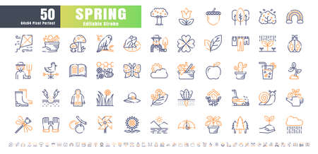 64x64 Pixel Perfect. Spring Season. Bicolor Line Outline Icons Vector. for Website, Application, Printing, Document, Poster Design, etc. Editable Stroke