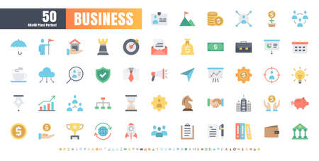 48x48 Pixel Perfect. Business and Financial. Flat Color Icons Vector. for Website, Application, Printing, Document, Poster Design, etc.