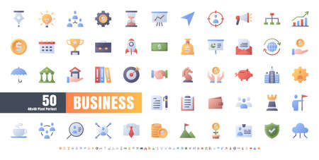48x48 Pixel Perfect. Business and Financial. Flat Gradient Color Icons Vector. for Website, Application, Printing, Document, Poster Design, etc.
