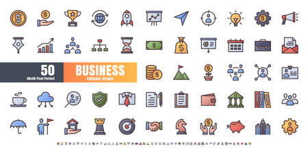 48x48 Pixel Perfect. Business and Financial. Flat Gradient Color Filled Outline Icons Vector. for Website, Application, Printing, Document, Poster Design, etc. Editable Stroke