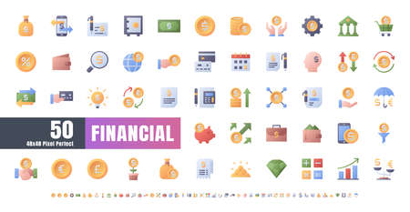48x48 Pixel Perfect. Financial Currency. Flat Gradient Color Icons Vector. for Website, Application, Printing, Document, Poster Design, etc. Иллюстрация