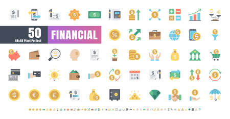 48x48 Pixel Perfect. Financial Currency. Flat Color Icons Vector. for Website, Application, Printing, Document, Poster Design, etc. Иллюстрация