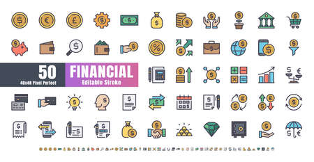 48x48 Pixel Perfect. Financial Currency. Flat Color Filled Outline Icons Vector. for Website, Application, Printing, Document, Poster Design, etc. Editable Stroke Иллюстрация