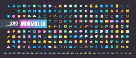 24x24 Pixel Perfect. Basic User Interface Essential Set. 200 Flat Gradient Color Icons. For App, Web, Print. Round Cap and Round Corner. Ready to use and Easy to Customize. Good for Daek Mode Theme.