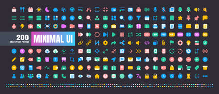 24x24 Pixel Perfect. Basic User Interface Essential Set. 200 Flat Color Icons. For App, Web, Print. Round Cap and Round Corner. Ready to use and Easy to Customize. Good for Daek Mode Theme. Иллюстрация