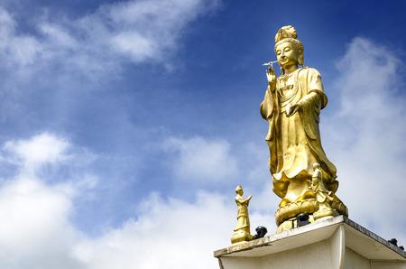 goddess of mercy: Guan Yin, Goddess of Mercy, Golden statue of bodhisattva in Trang,Thailand. Stock Photo