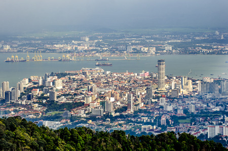 Top view of Georgetown, view from Penang hill, capital of Penang Island, MALAYSIA.