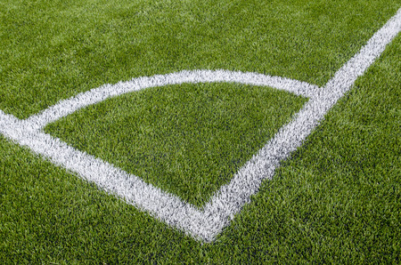 The Corner of the artificial grass soccer field.